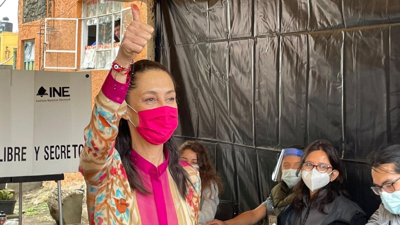 La jefa de Gobierno de la Ciudad de México, Claudia Sheinbaum,emitió su voto en laselecciones 2021. (Foto: