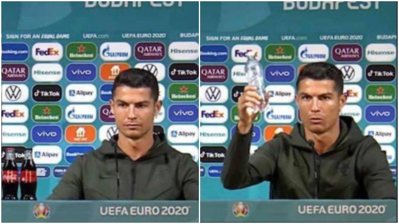 Cristiano Ronaldo quita botellas de Coca Cola y se viraliza el momento