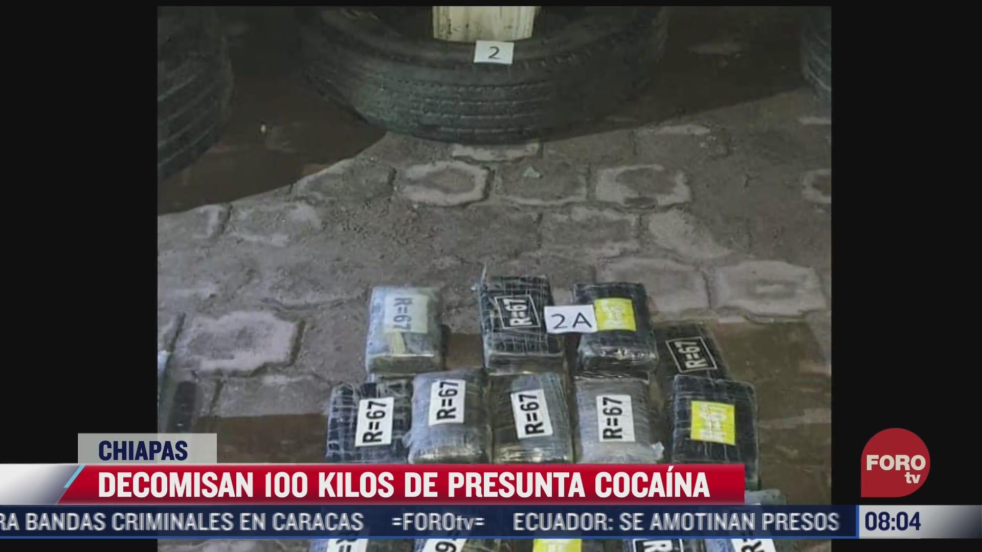 decomisan 100 kilos de cocaina oculta en las llantas de un tractocamion en chiapas