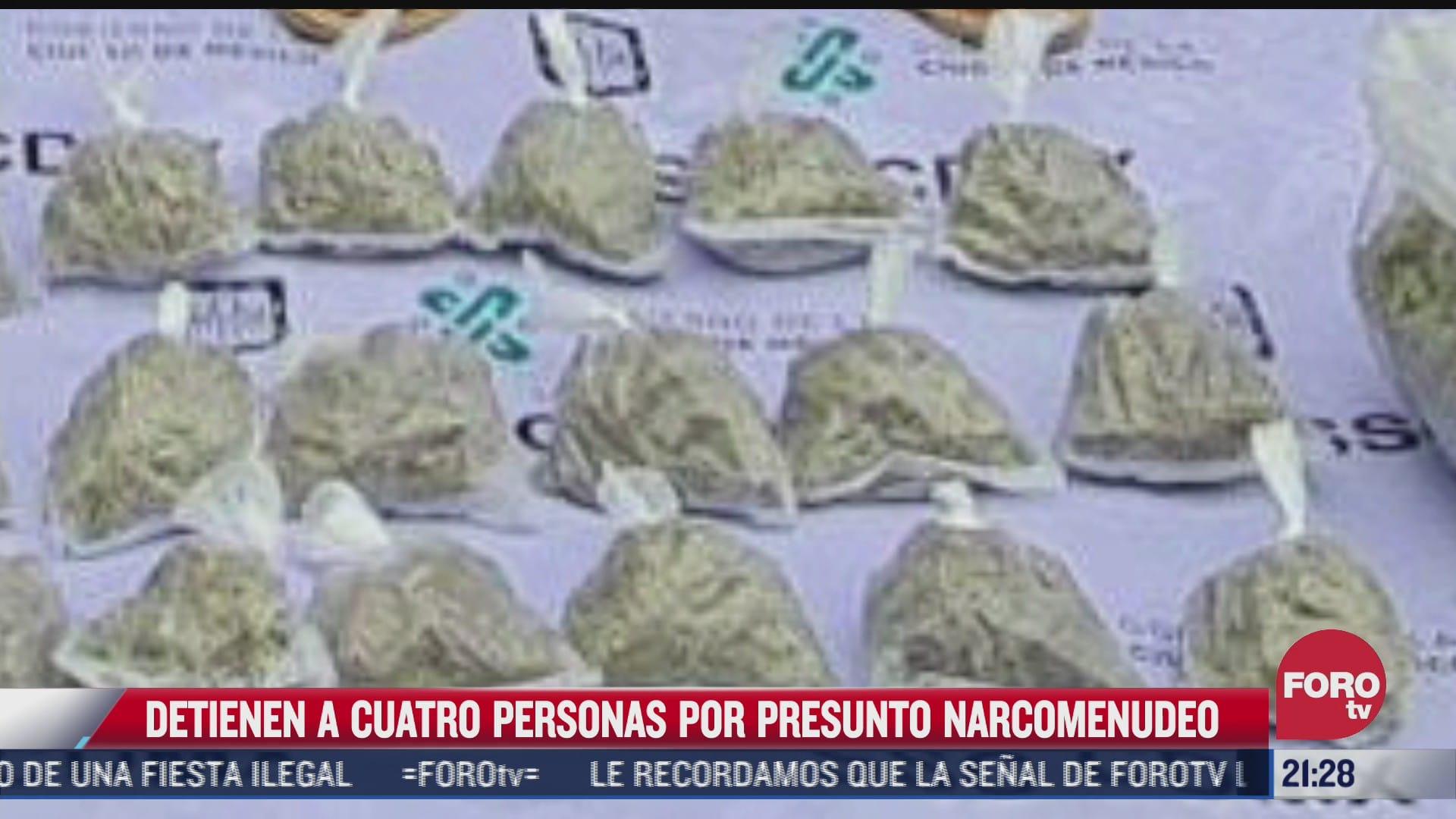 detienen a 4 hombres en cdmx en posesion de droga