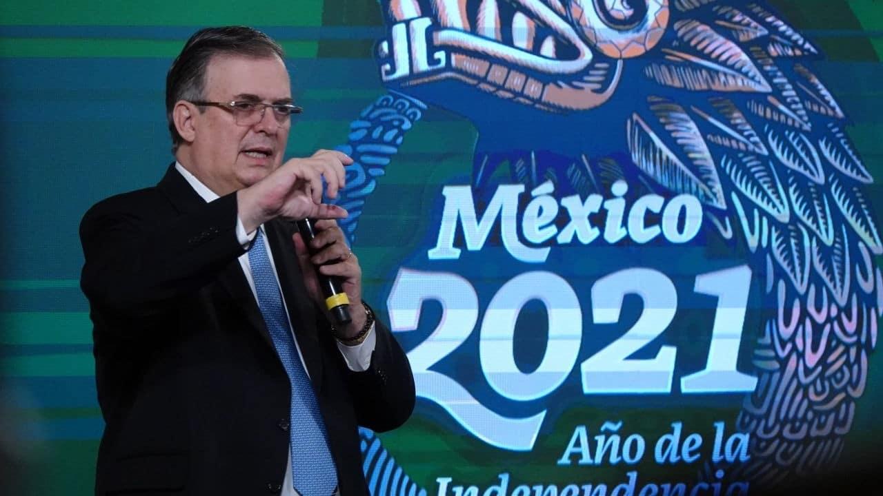 El secretario de Relaciones Exteriores, Marcelo Ebrard, durante la conferencia matutina en Palacio Nacional