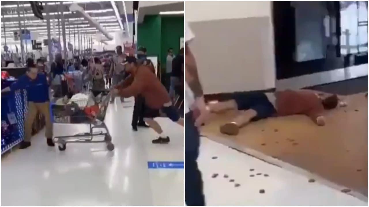 Empleado de Walmart noquea a cliente de un golpe al ser agredido con un escupitajo