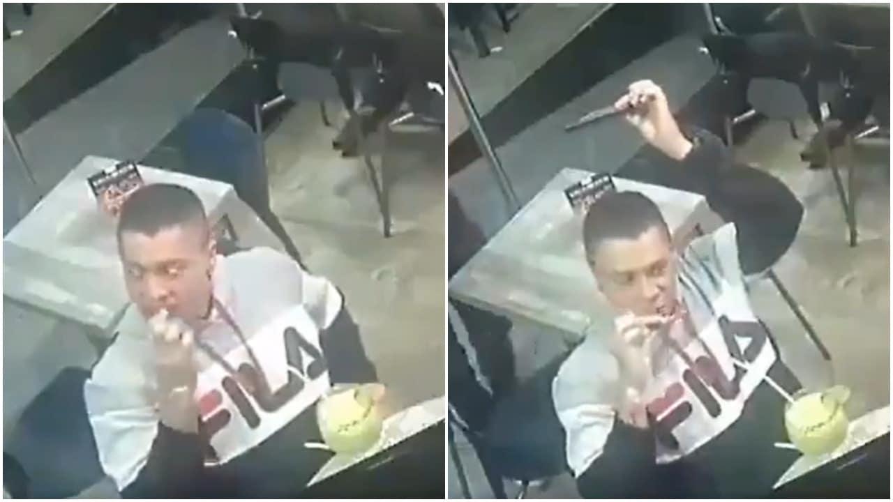 Hombre no deja de comer mientras sufre asalto en Nuevo León video
