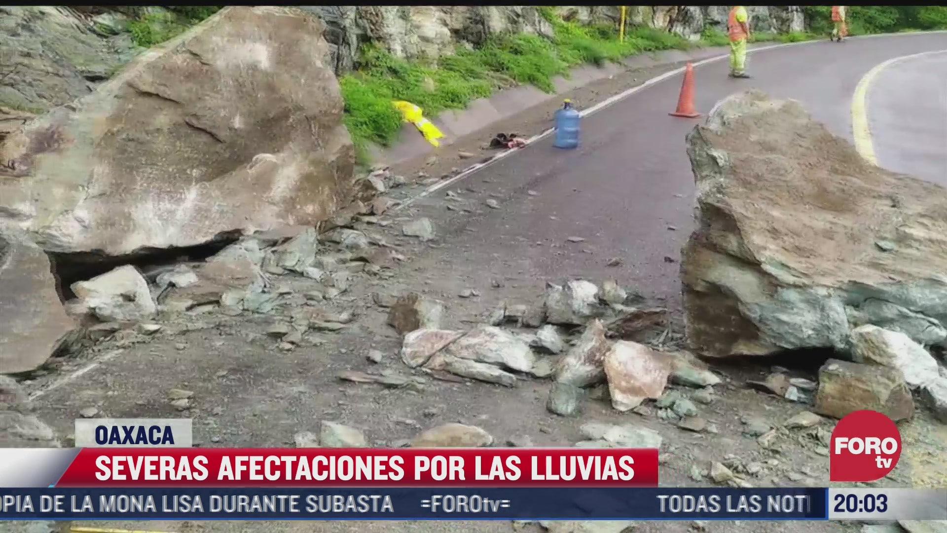 lluvias causan afectaciones en tramos carreteros de oaxaca