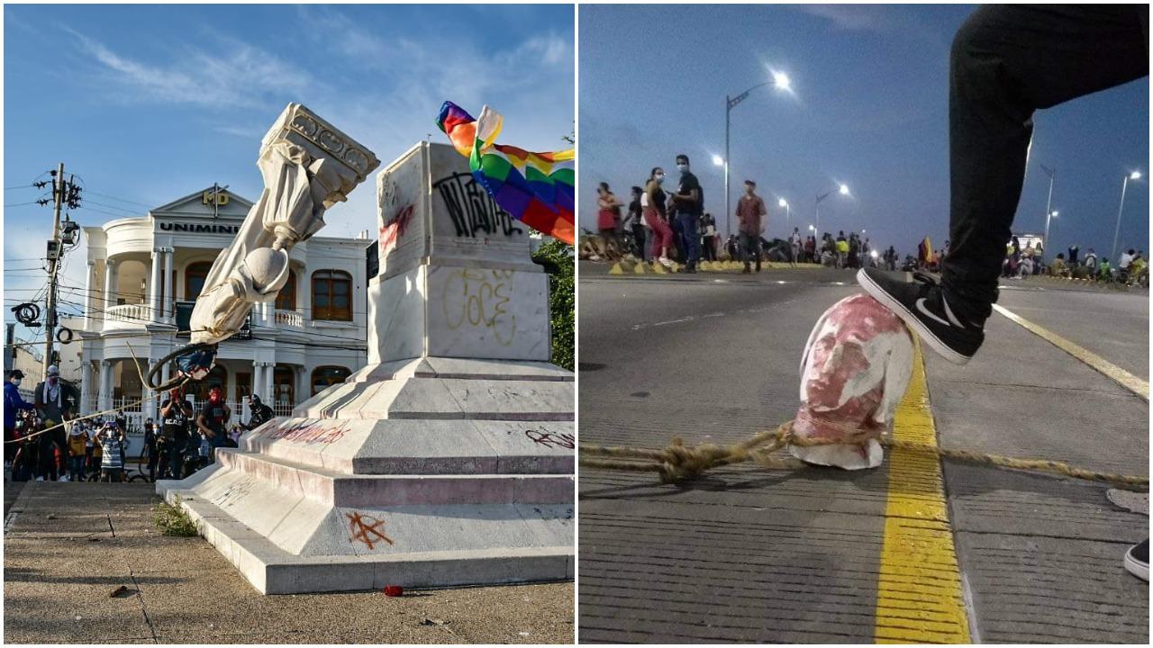 Derriban estatua de Cristóbal Colón en Barranquilla, Colombia