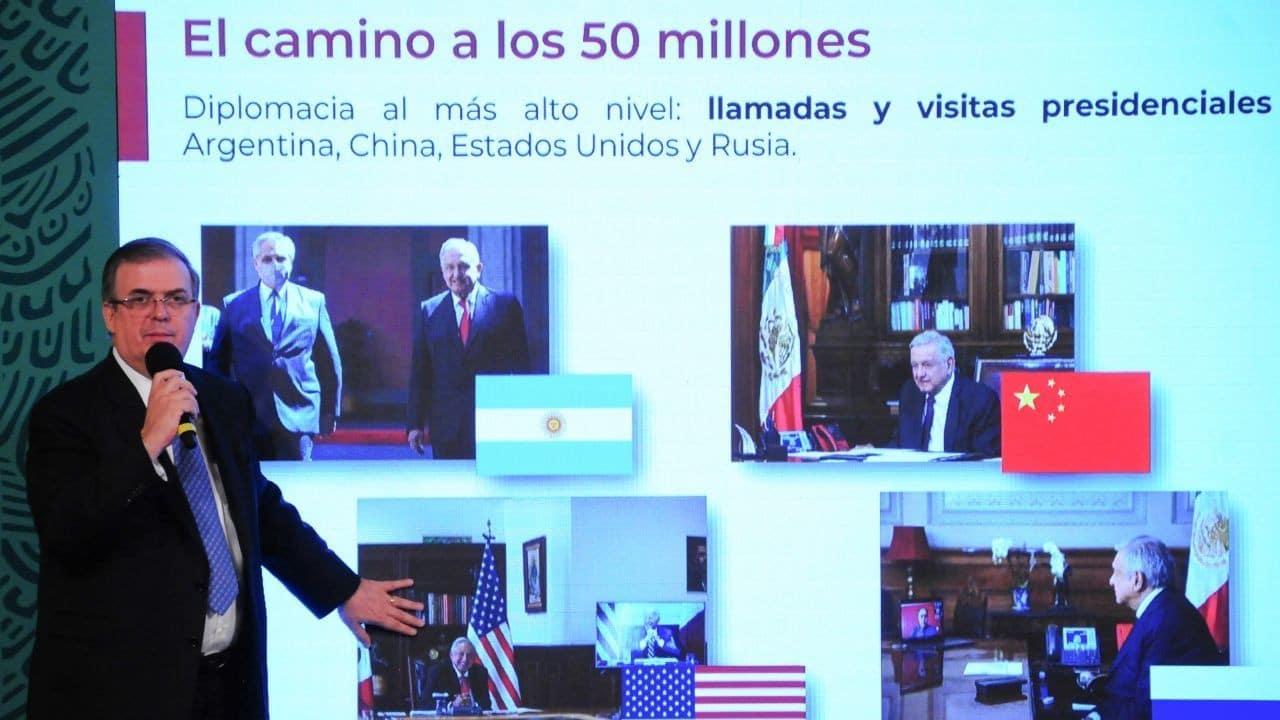 Marcelo Ebrard durante la conferencia de prensa del presidente Andrés Manuel López Obrador
