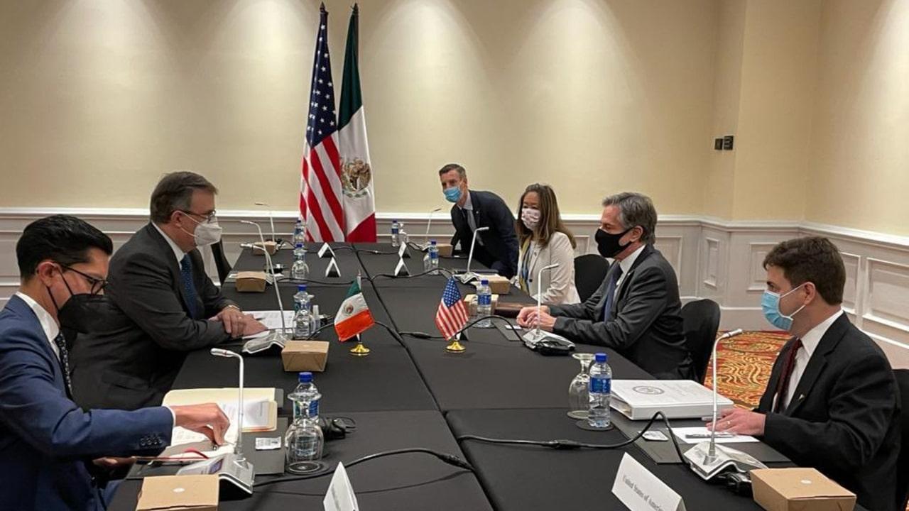 El secretario de Relaciones Exteriores, Marcelo Ebrard, y el secretario de Estado de EEUU, Antony Blinken