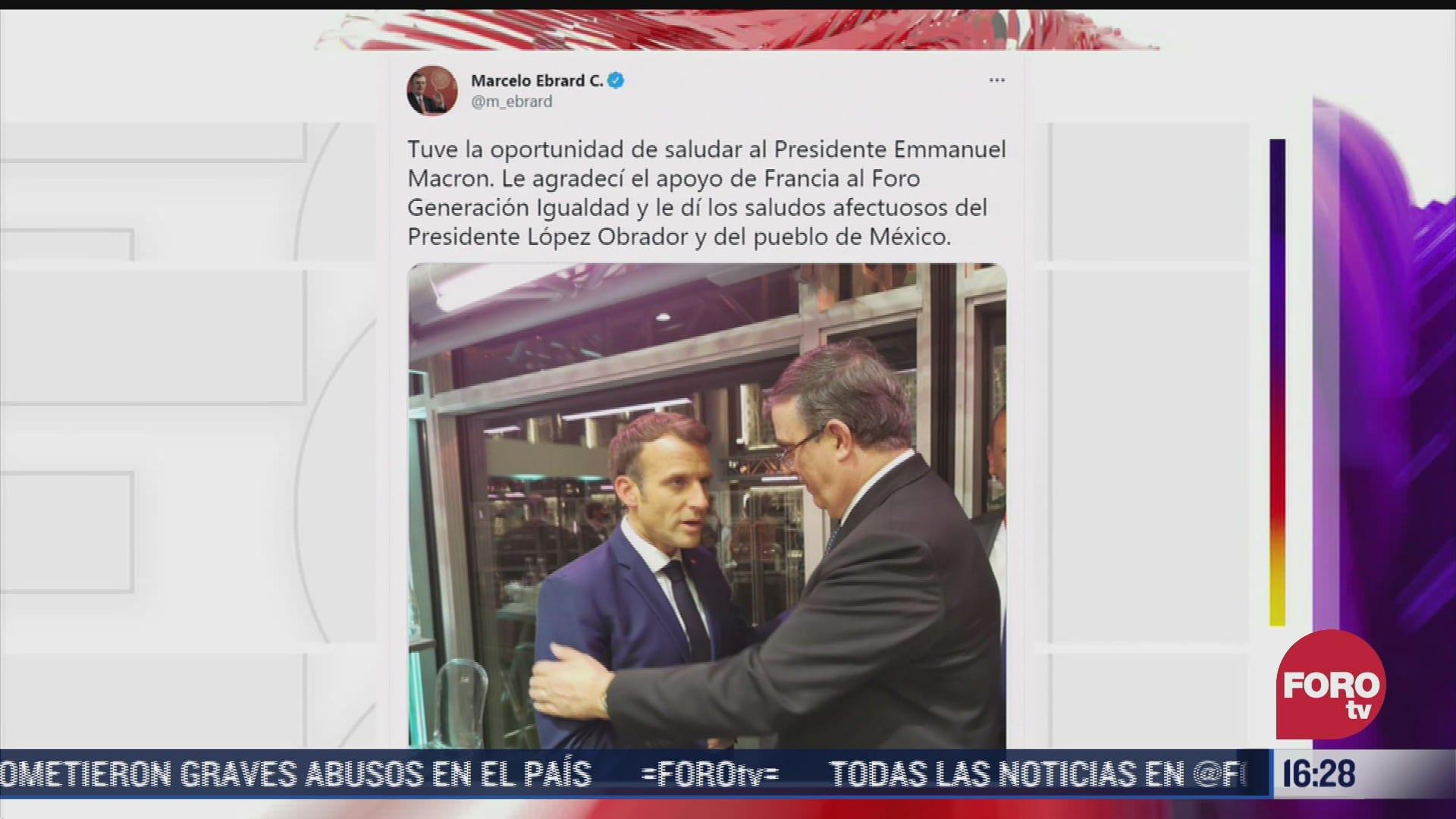 marcelo ebrard saluda al presidente de francia emmanuel macron