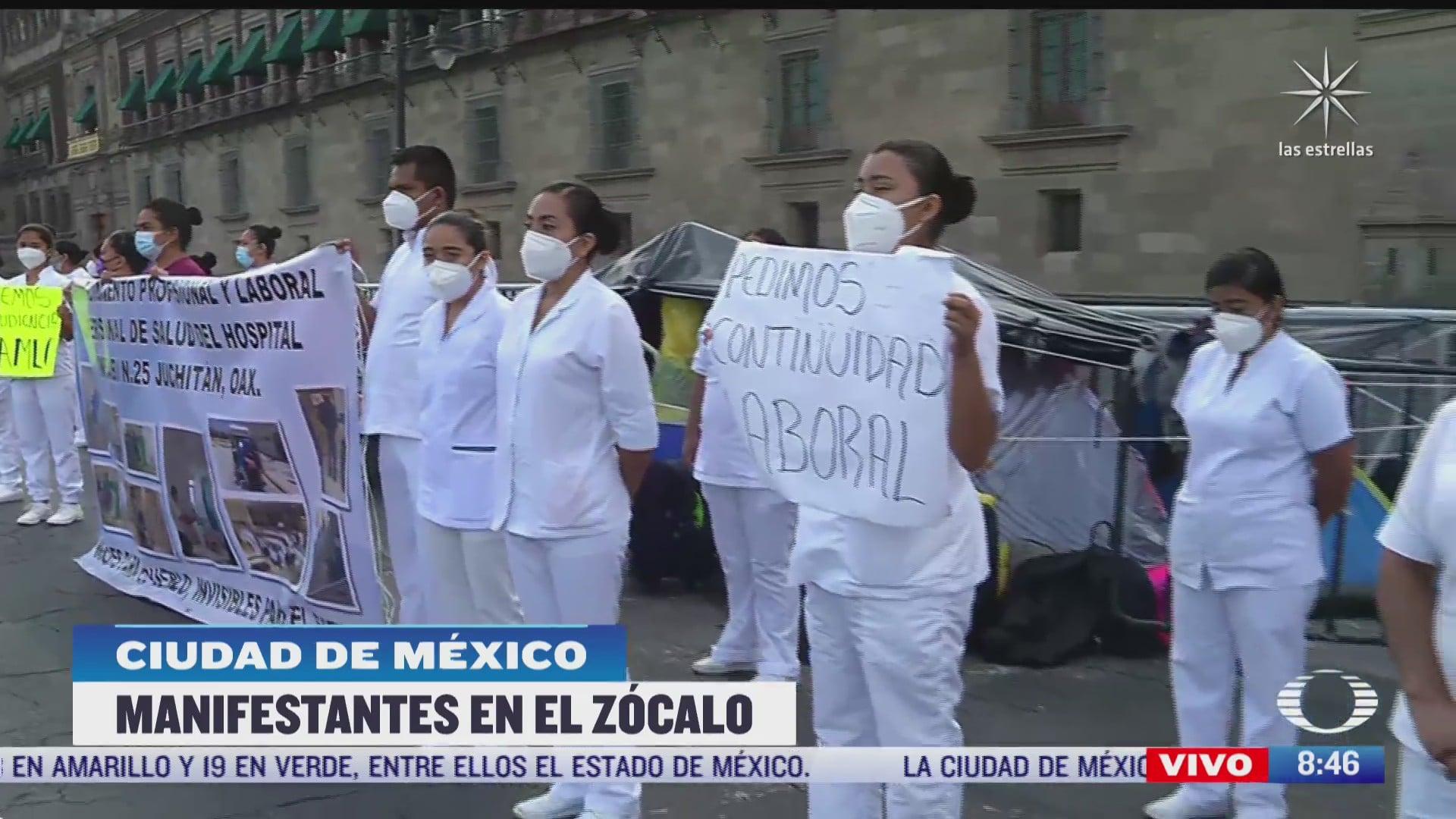 personal medico de oaxaca protesta en zocalo de cdmx para que sean reubicados