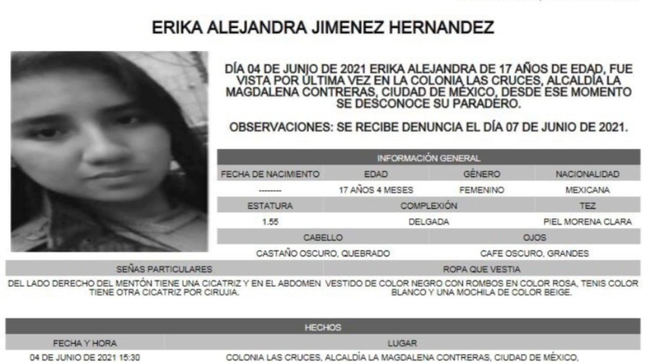 Activan Alerta Amber para localizar a Erika Alejandra Jiménez Hernández