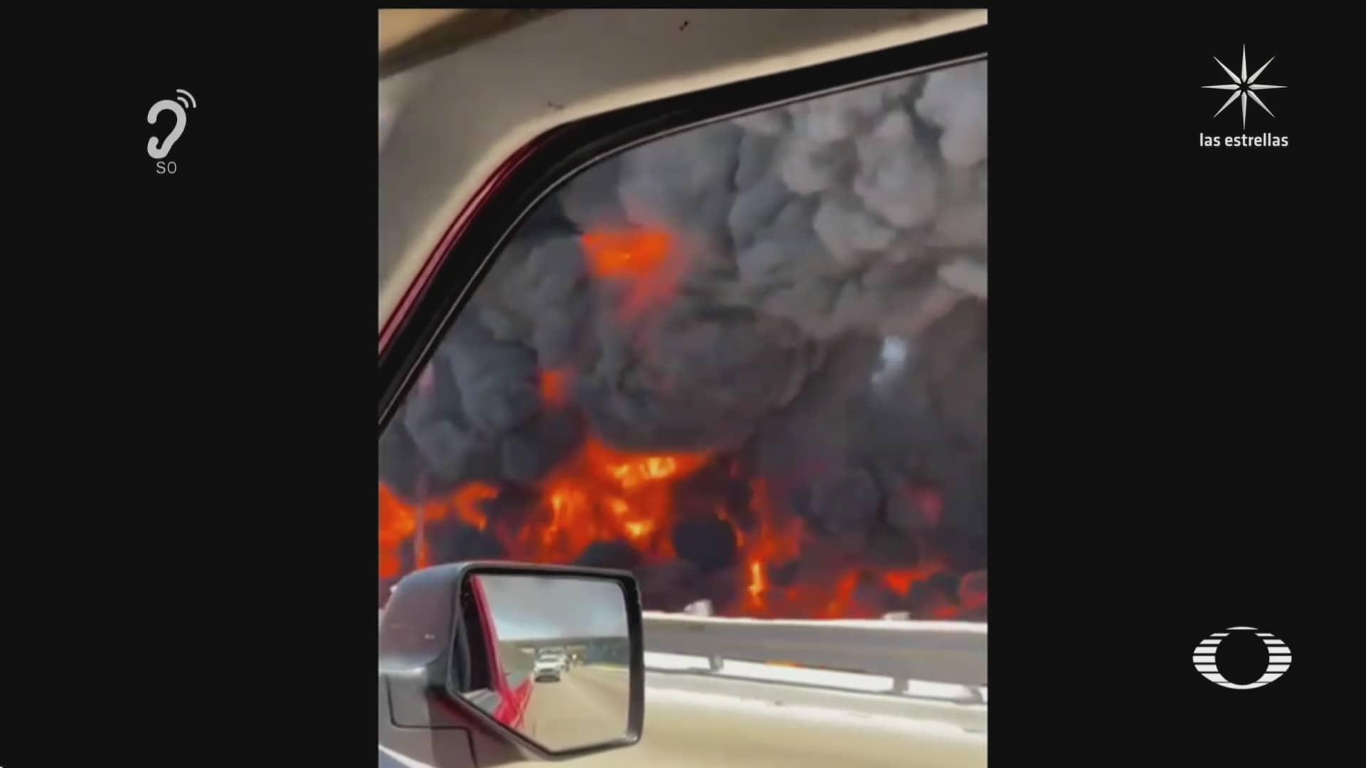 pipa que transportaba gasolina vuelca y explota en tijuana
