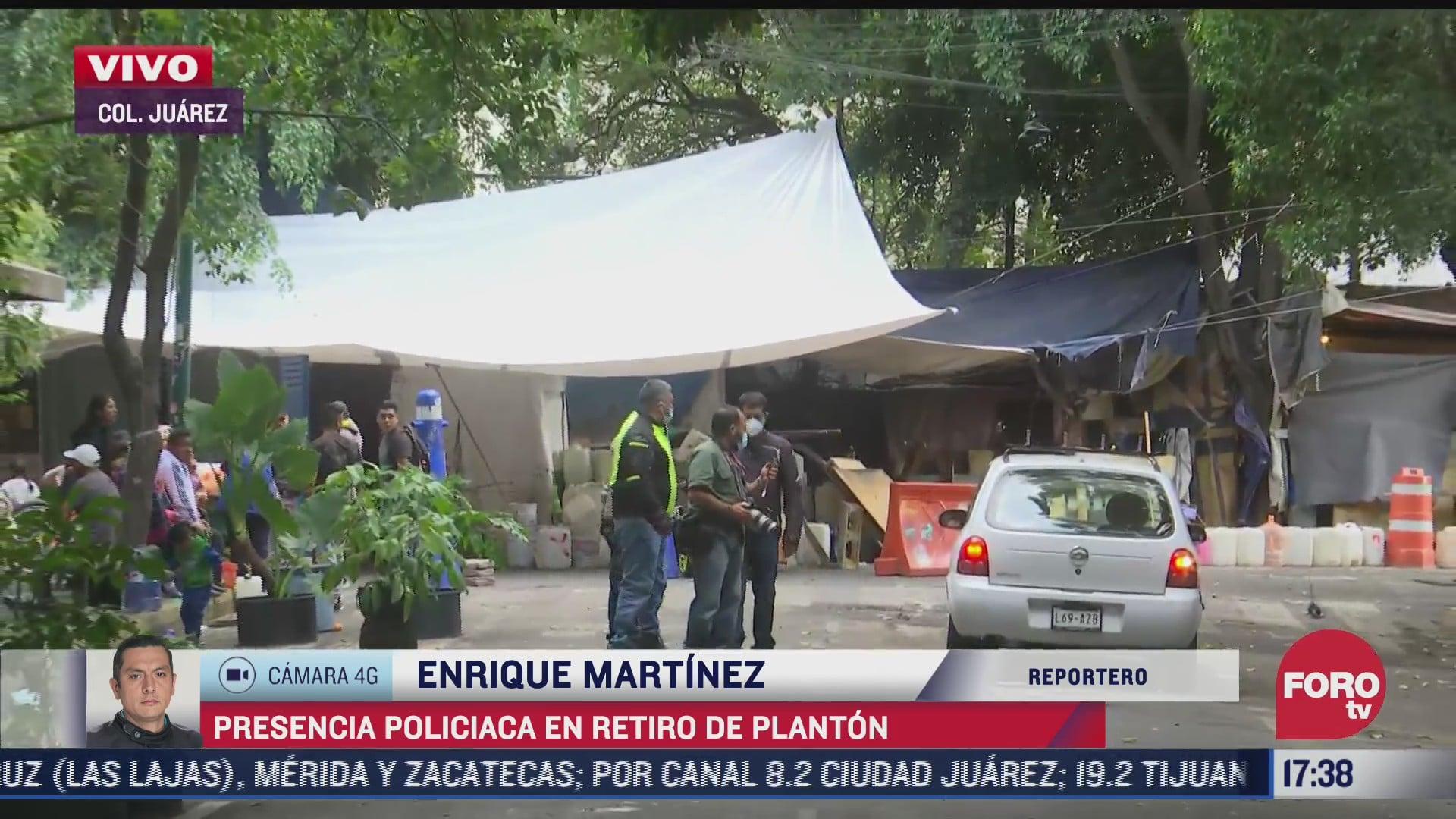 presencia policiaca en retiro de planton en colonia juarez cdmx
