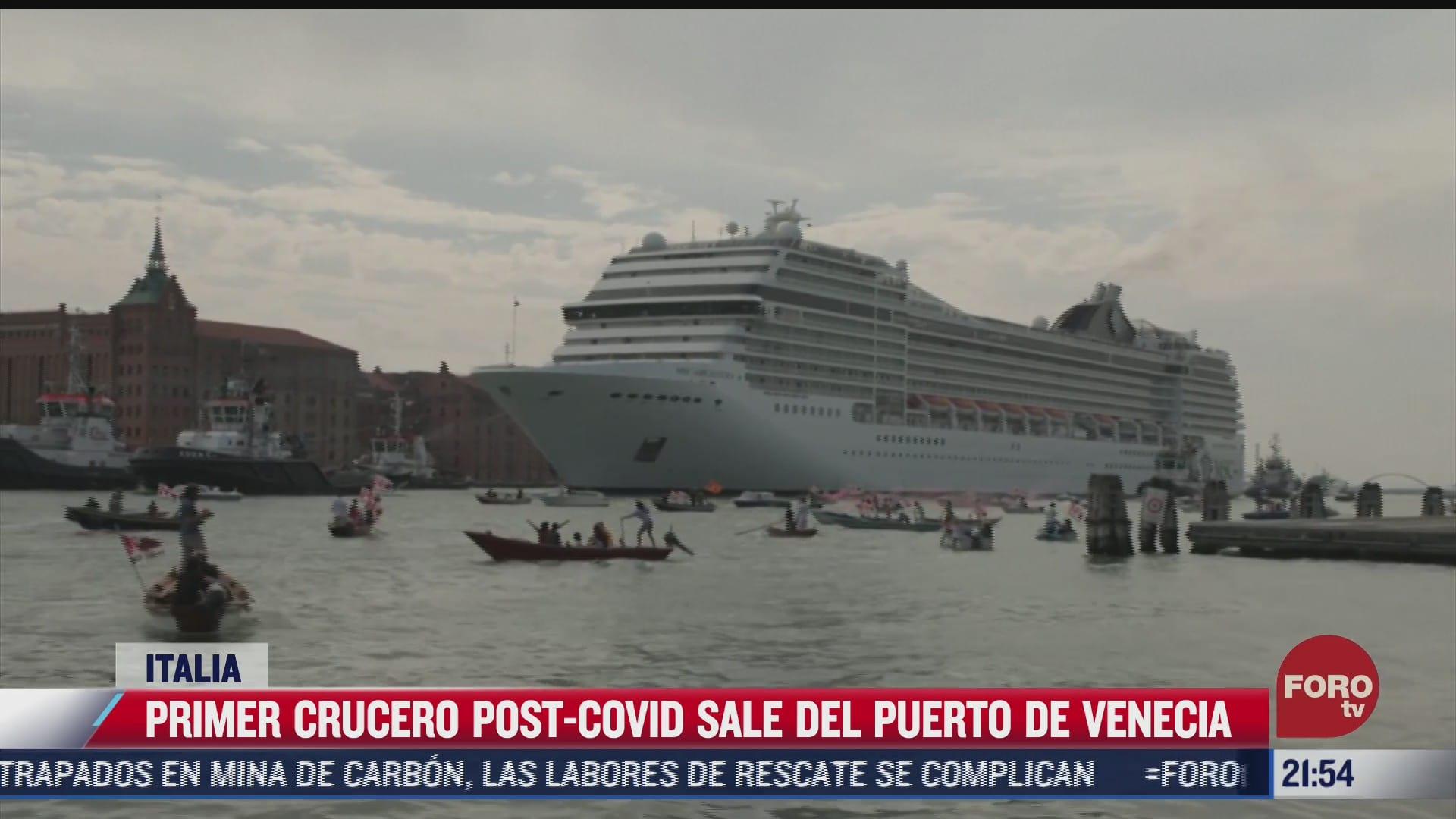 primer crucero post covid sale del puerto de venecia italia