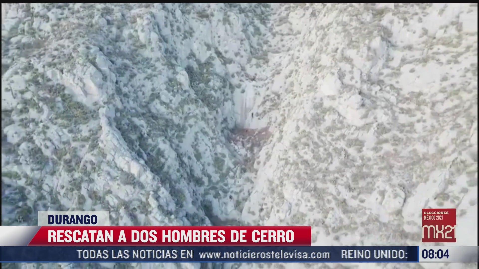 rescatan con vida a dos personas en el cerro de las noas en durango
