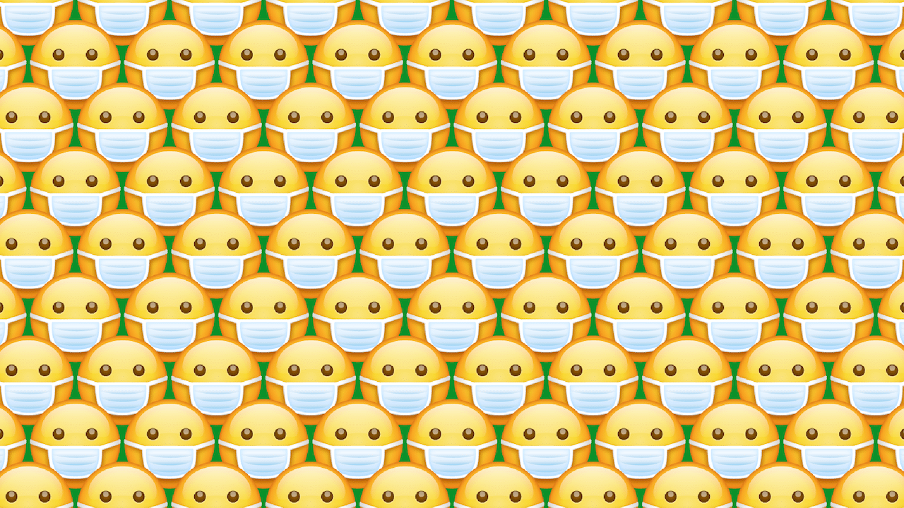 Busca dos emojis sin cubrebocas, ilustración