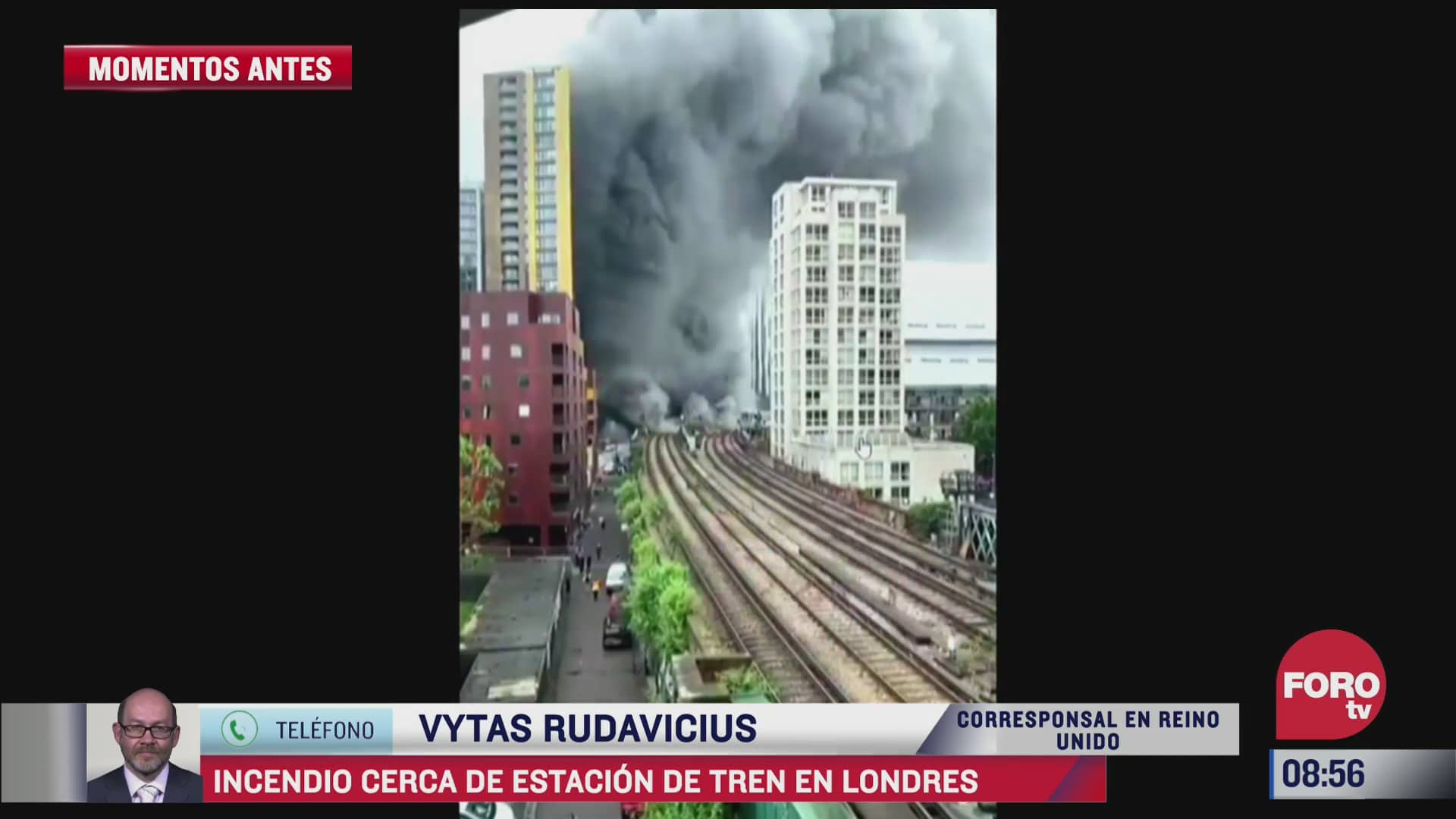 se registra fuerte incendio cerca de estacion de tren en londres
