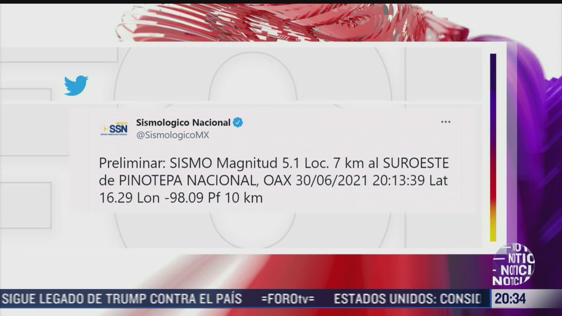 se registra sismo de magnitud 5 1 en oaxaca