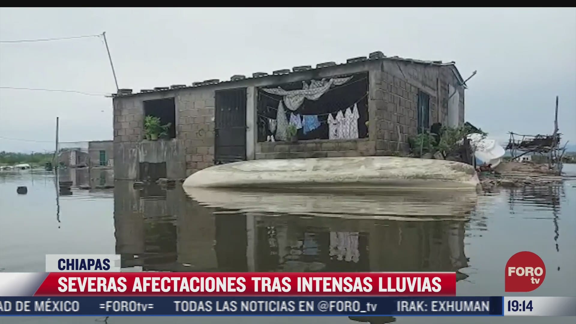 se registran fuertes lluvias en gran parte del estado de chiapas
