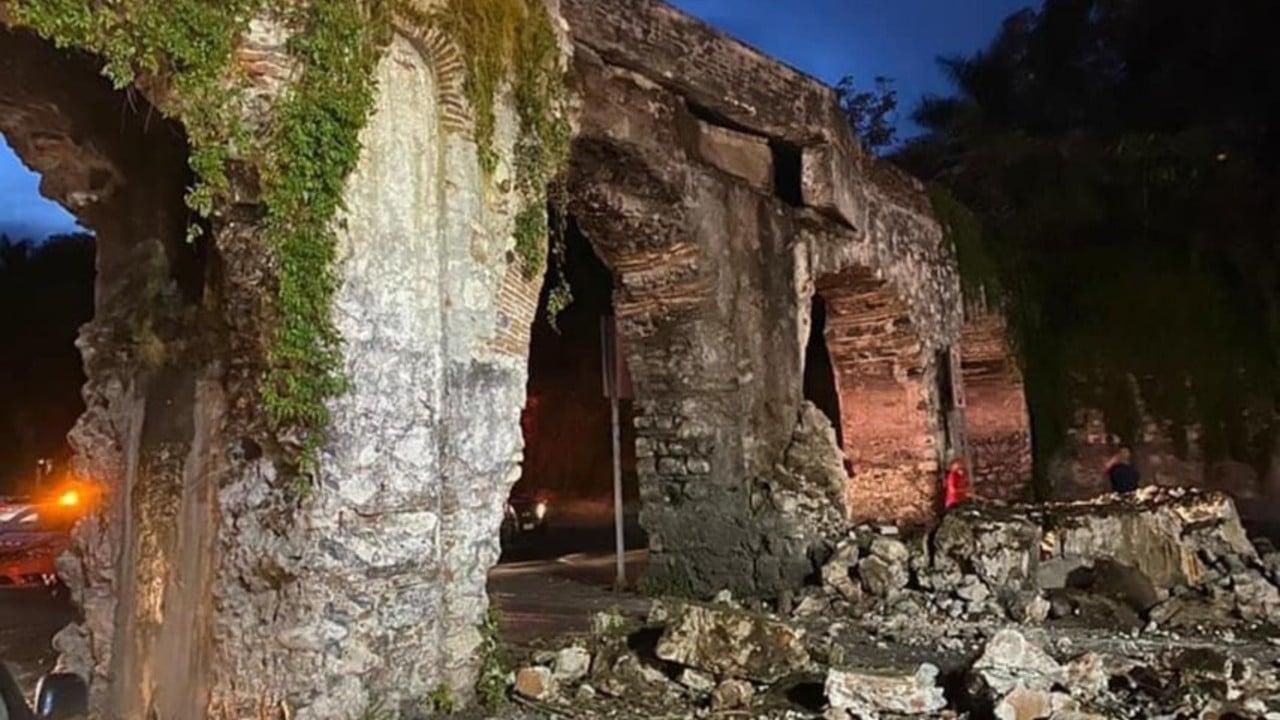 Tráiler impacta histórico acueducto de Yautepec, Morelos; INAH evalúa los daños