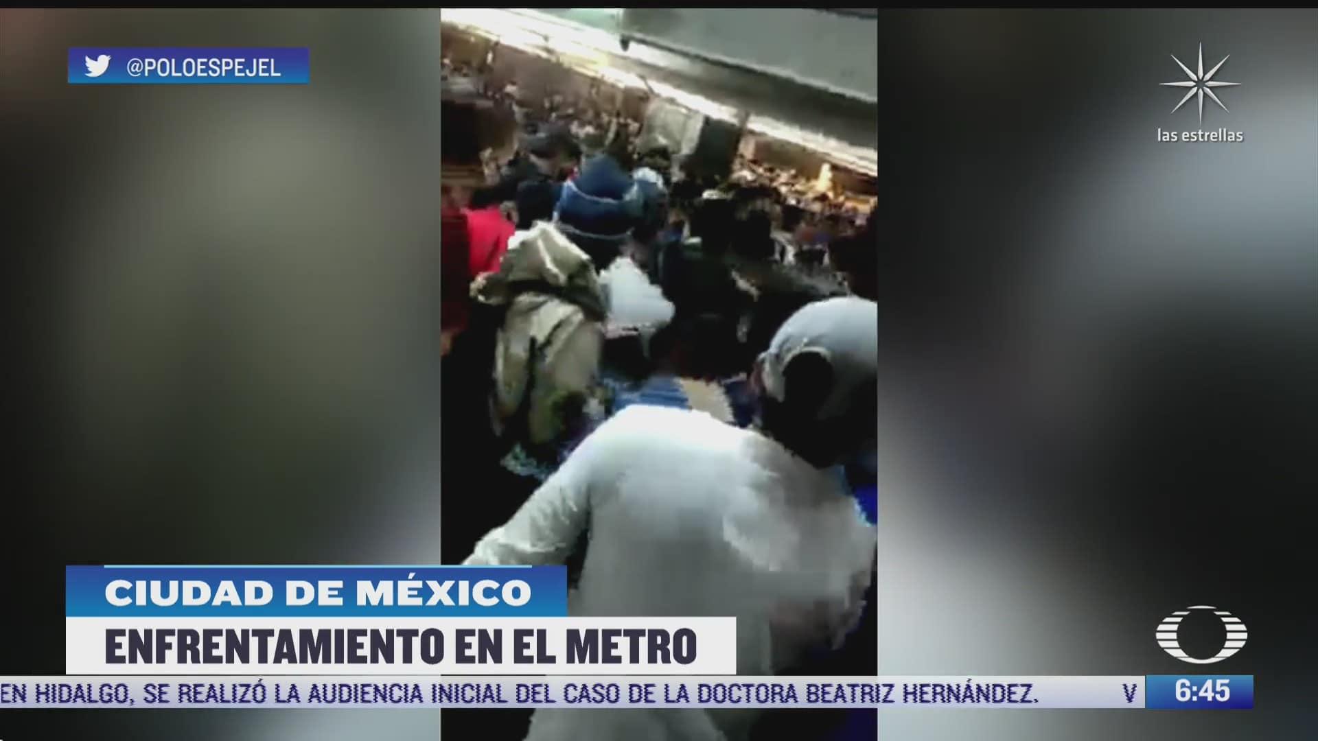 usuarios y policias se enfrentan en la estacion pantitlan del metro cdmx