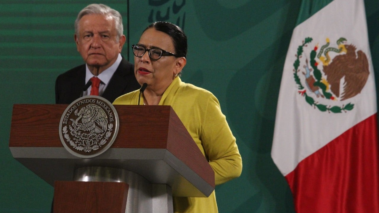 Rosa Icela Rodríguez, en rueda de prensa encabezada por el presidente Andrés Manuel López Obrador, en Palacio Nacional