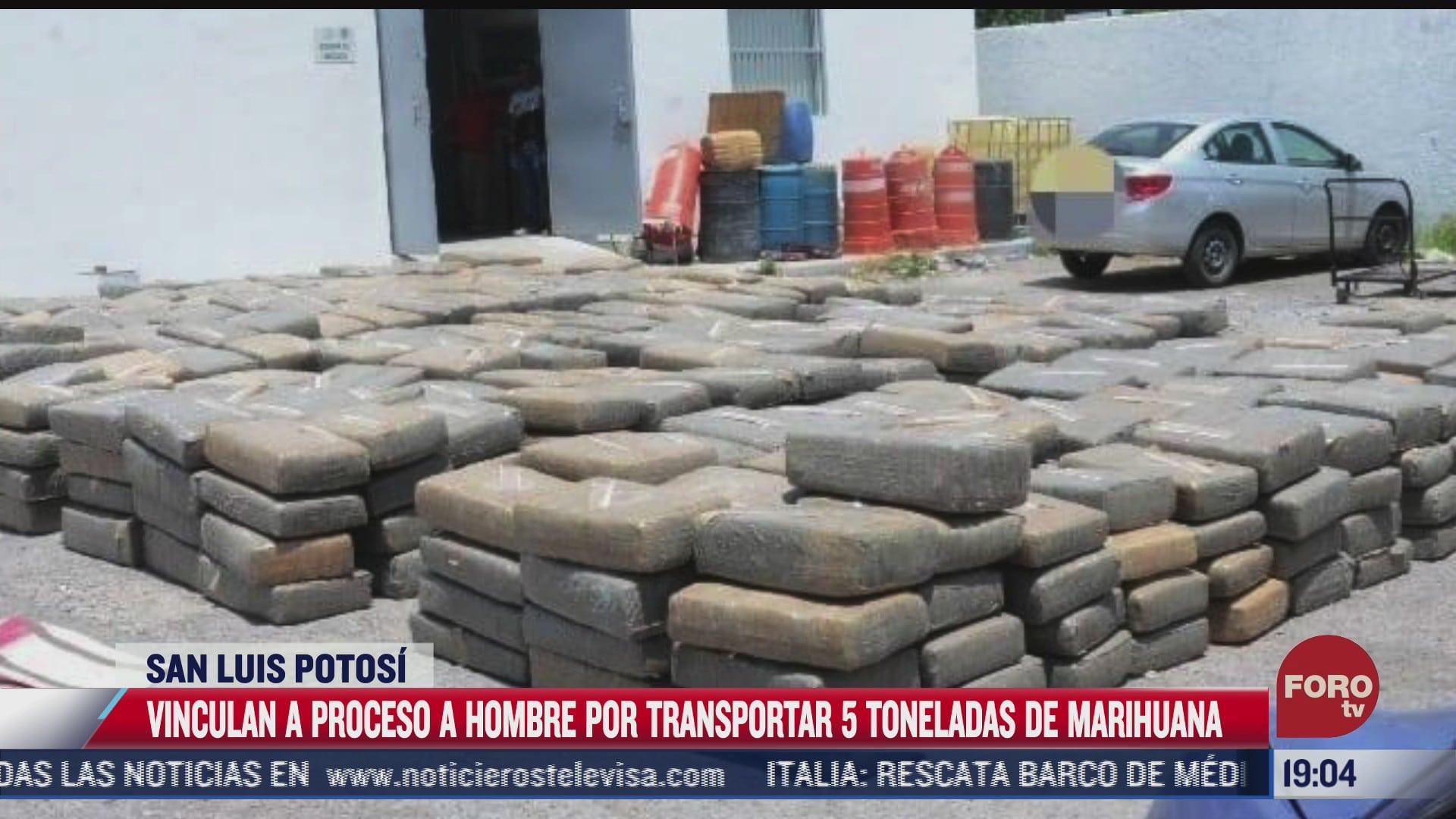 vinculan a proceso a hombre por trasladar 5 toneladas de marihuana