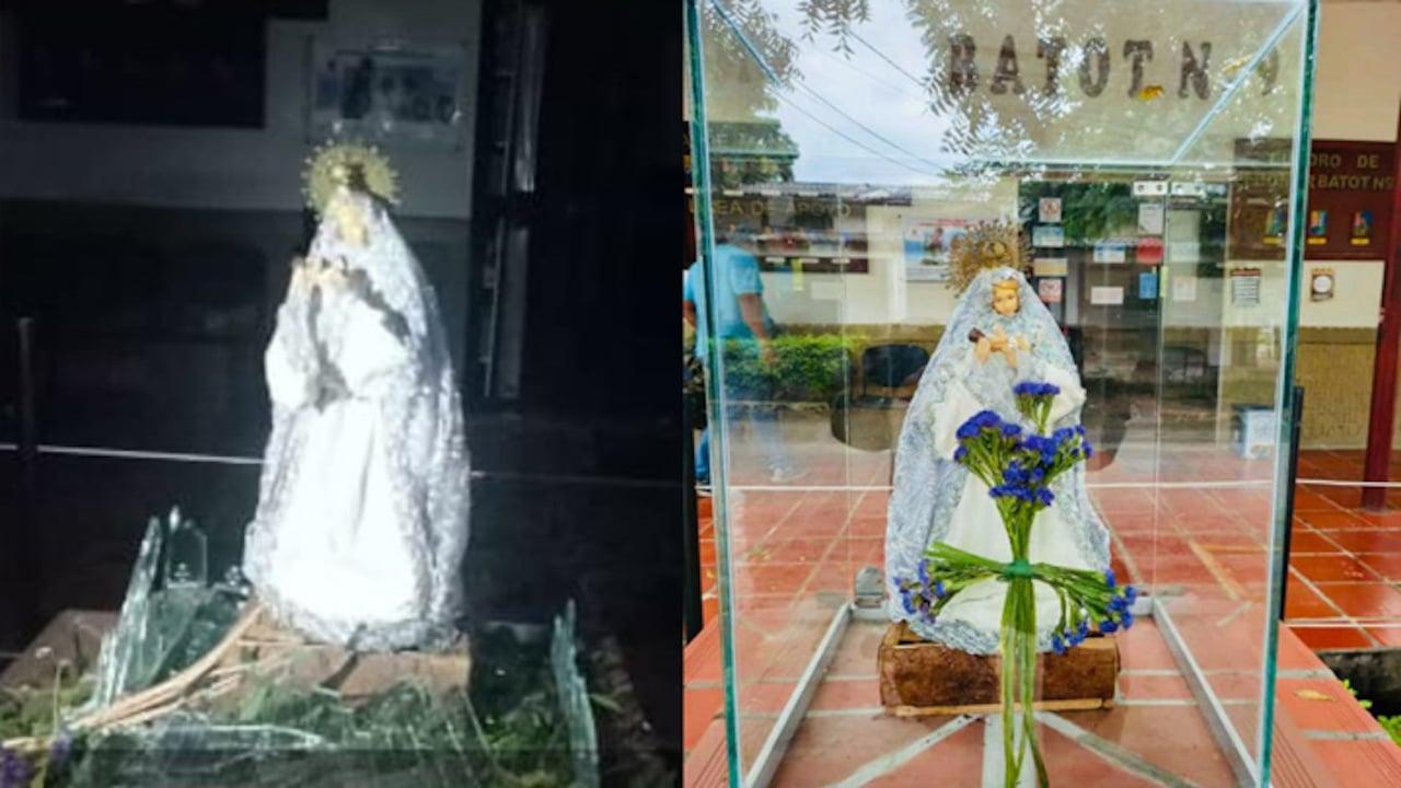 Estatua Virgen Carmen Intacta Atentado