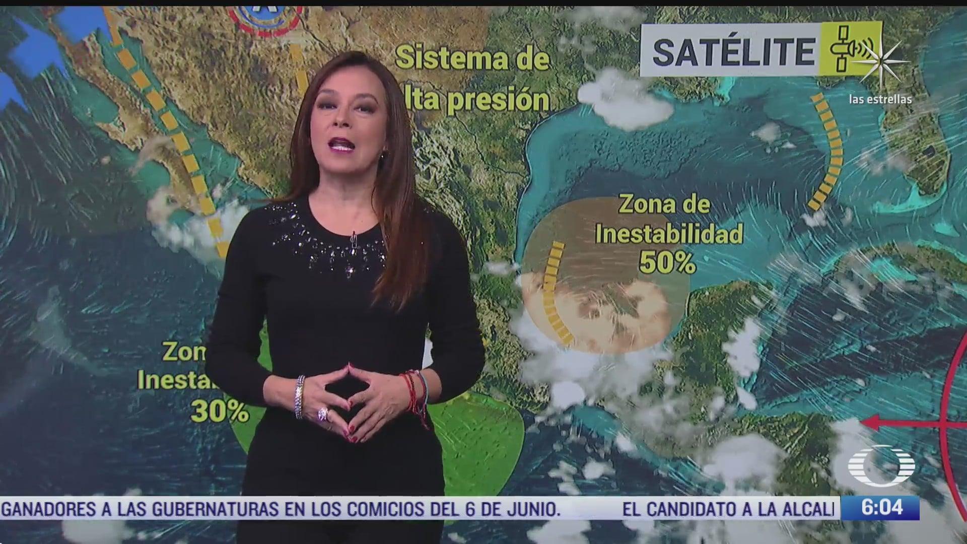 zonas de baja presion afectaran el oeste sur sureste oriente y centro de mexico