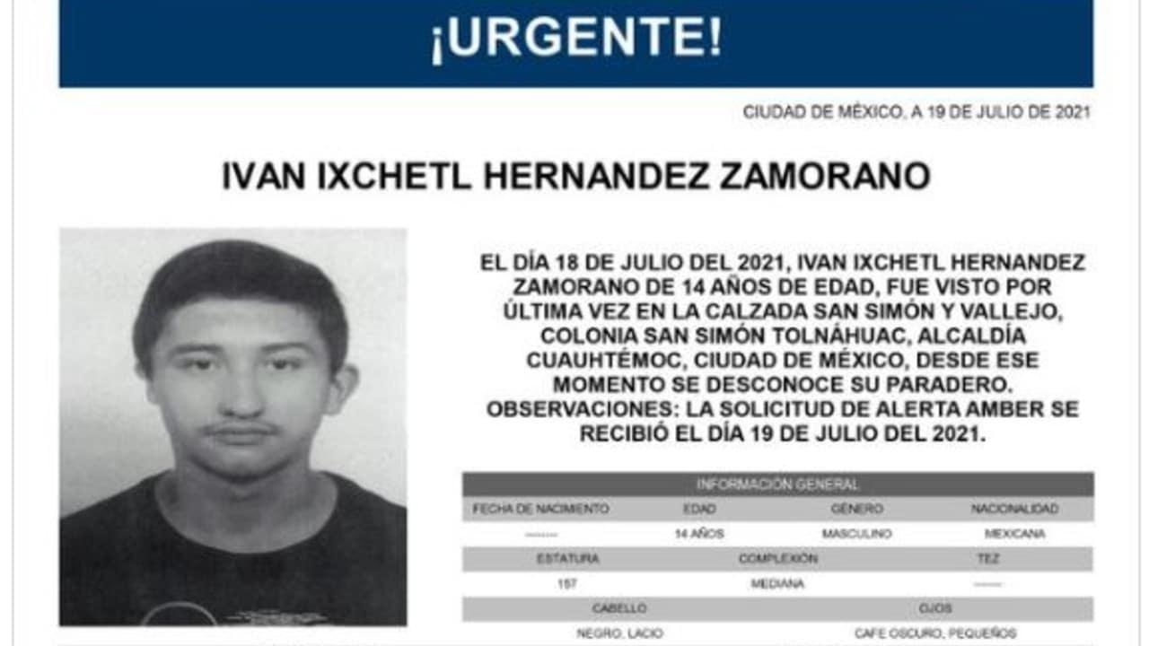 Activan Alerta Amber para Iván Ixchetl Hernández Zamorano