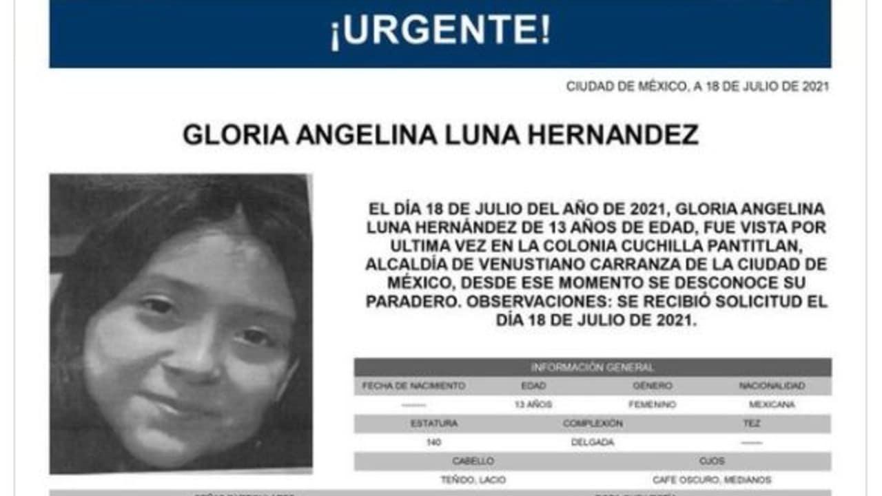 Activan Alerta Amber para localizar a Gloria Angelina Luna Hernández