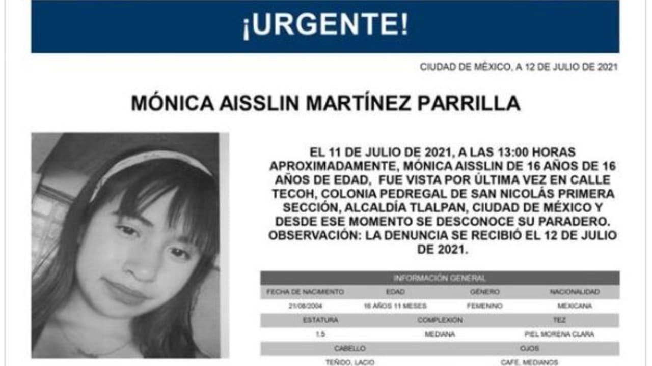 Activan Alerta Amber para Mónica Aisslin Martínez Parrilla