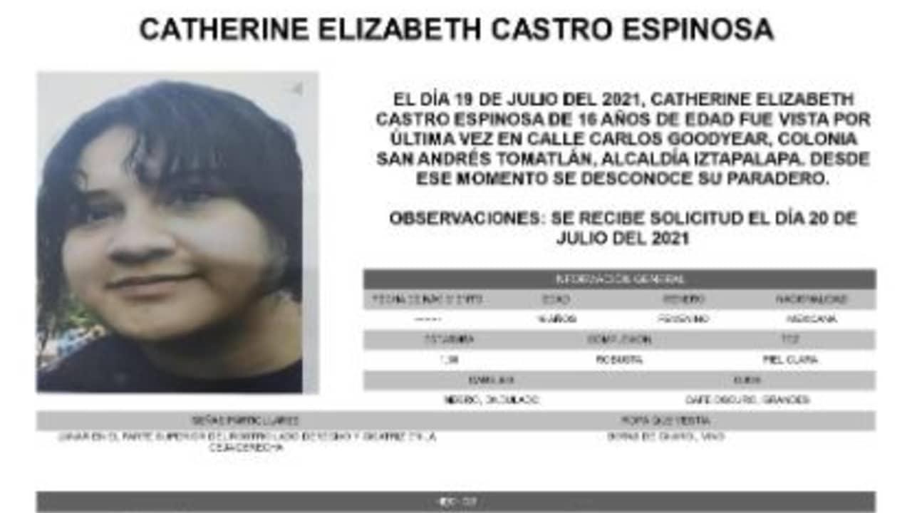 Activan Alerta Amber para localizar a Catherine Elizabeth Castro Espinosa