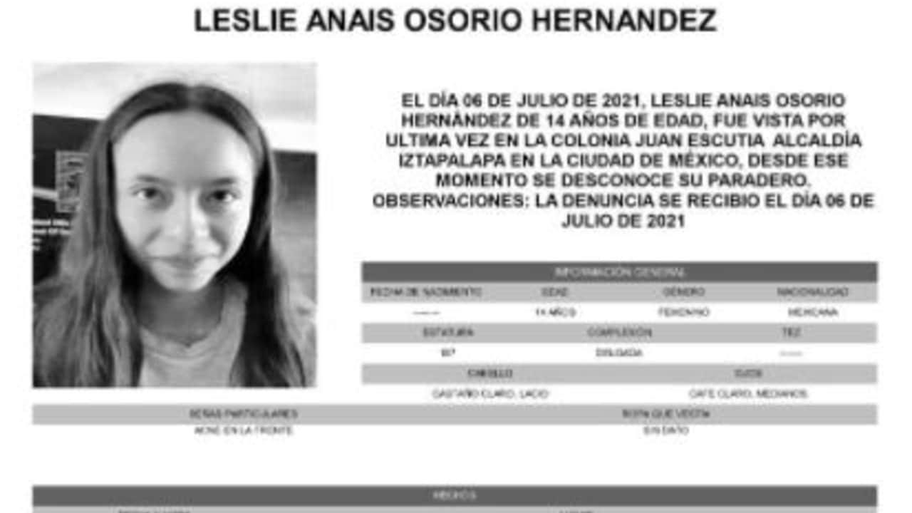 Activan Alerta Amber para localizar a Leslie Anais Osorio Hernández