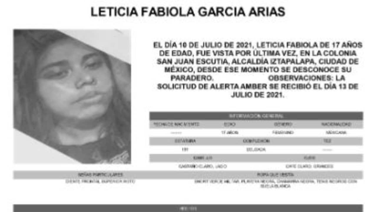 Activan Alerta Amber para localizar a Leticia Fabiola García Arias