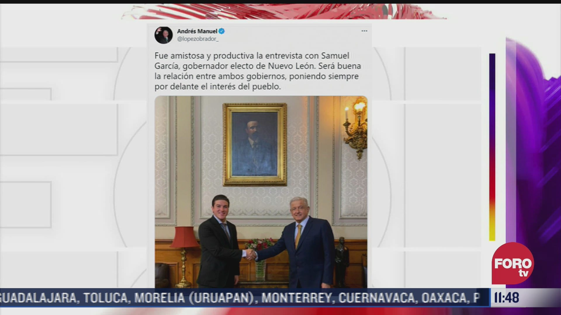 amlo se reune con samuel garcia gobernador electo de nuevo leon