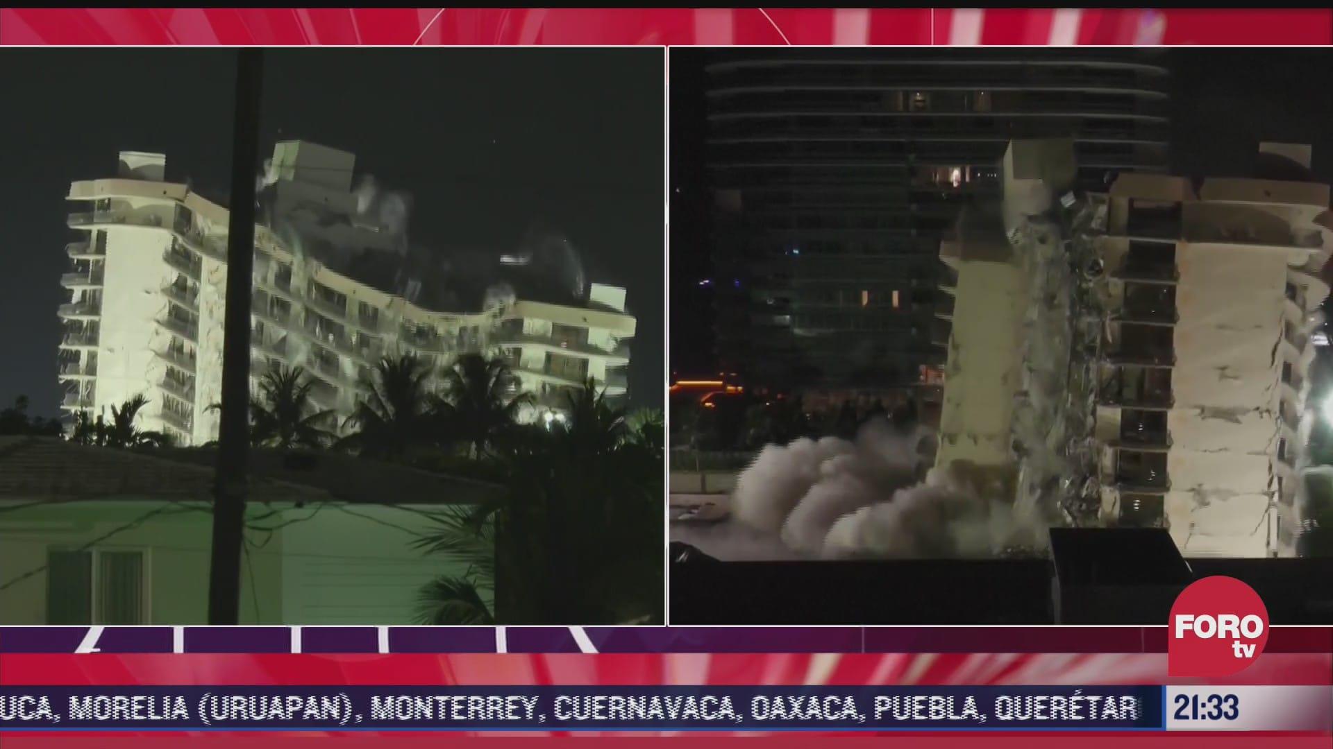 asi fue la demolicion del edificio siniestrado en miami dade