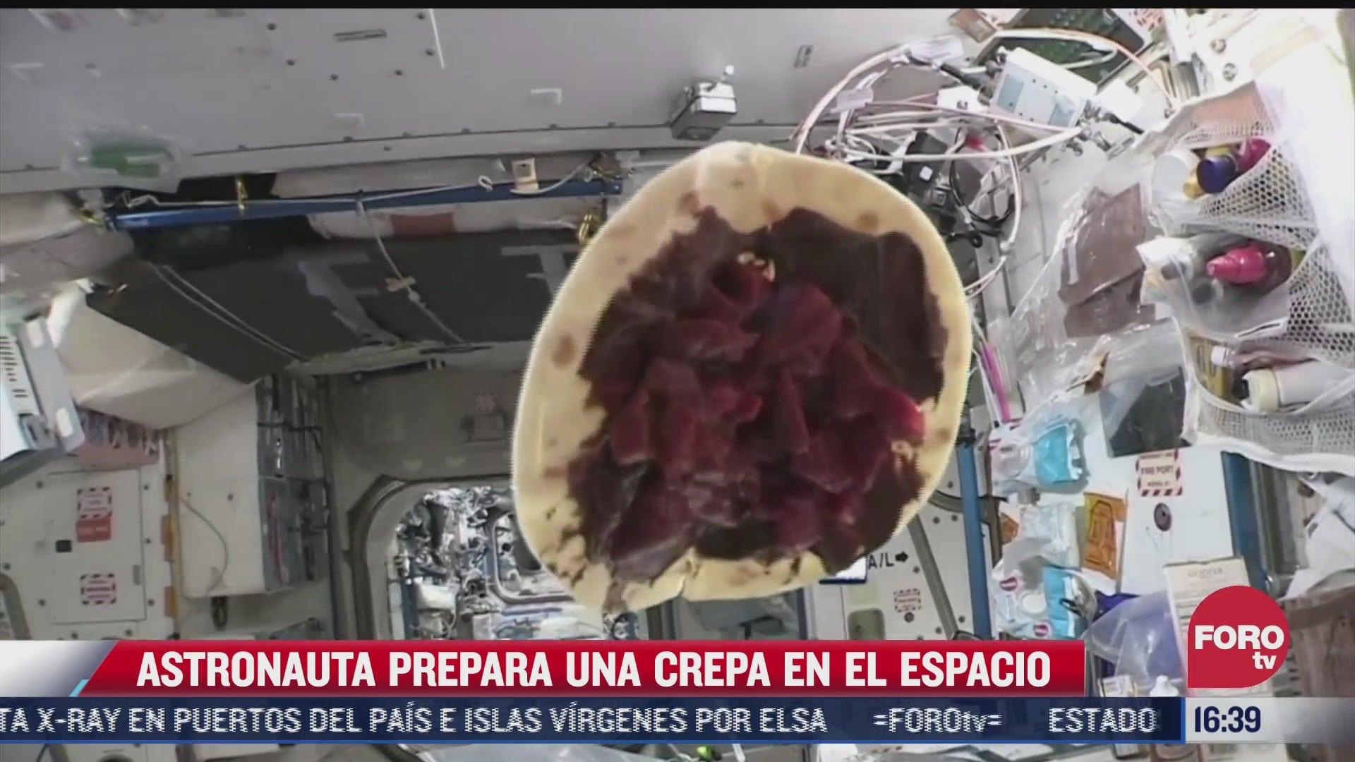 astronauta prepara una crepa en la estacion espacial internacional