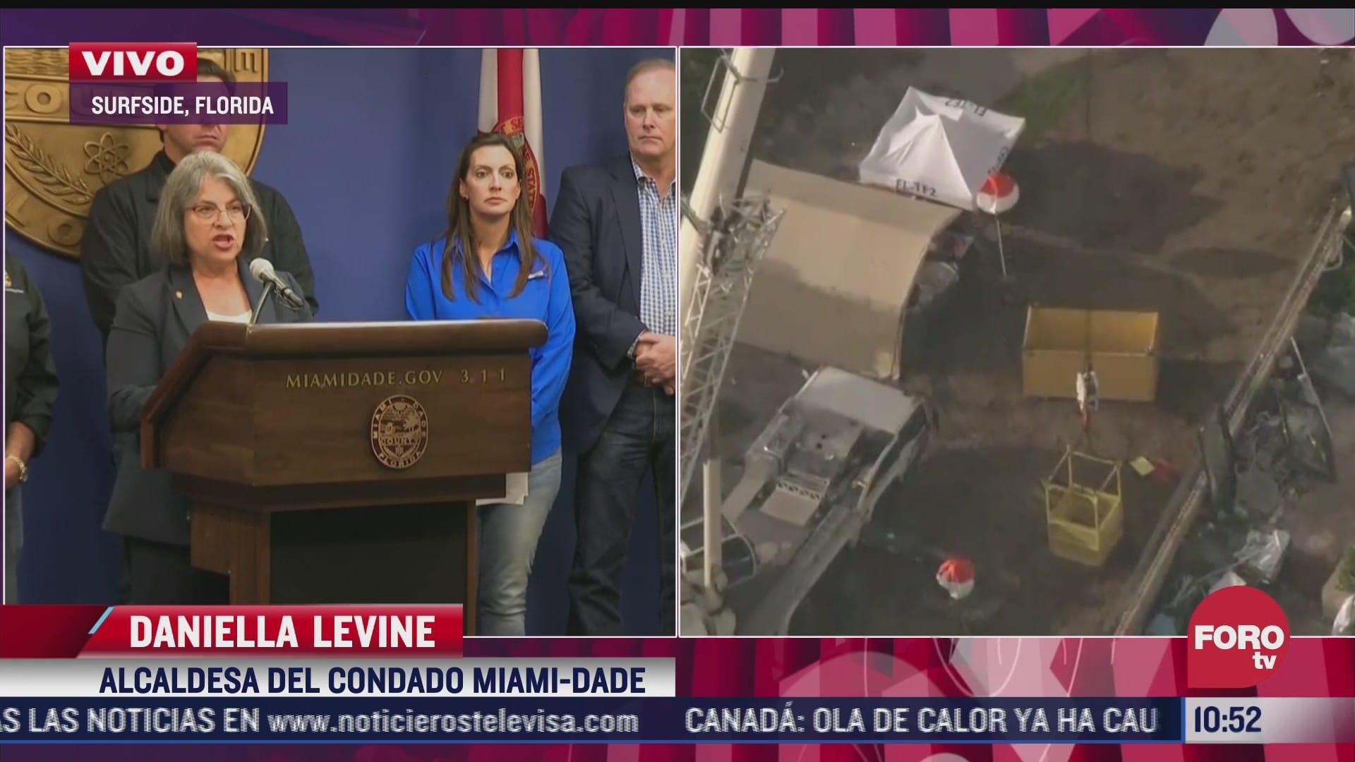 autoridades de florida ofrecen conferencia ante llegada de elsa y trabajos en edificio colapsado