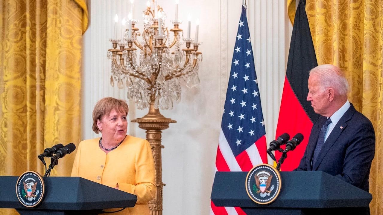 Joe Biden, presidente de EU y Angela Merkel, canciller de Alemania en la Casa Blanca (EFE)