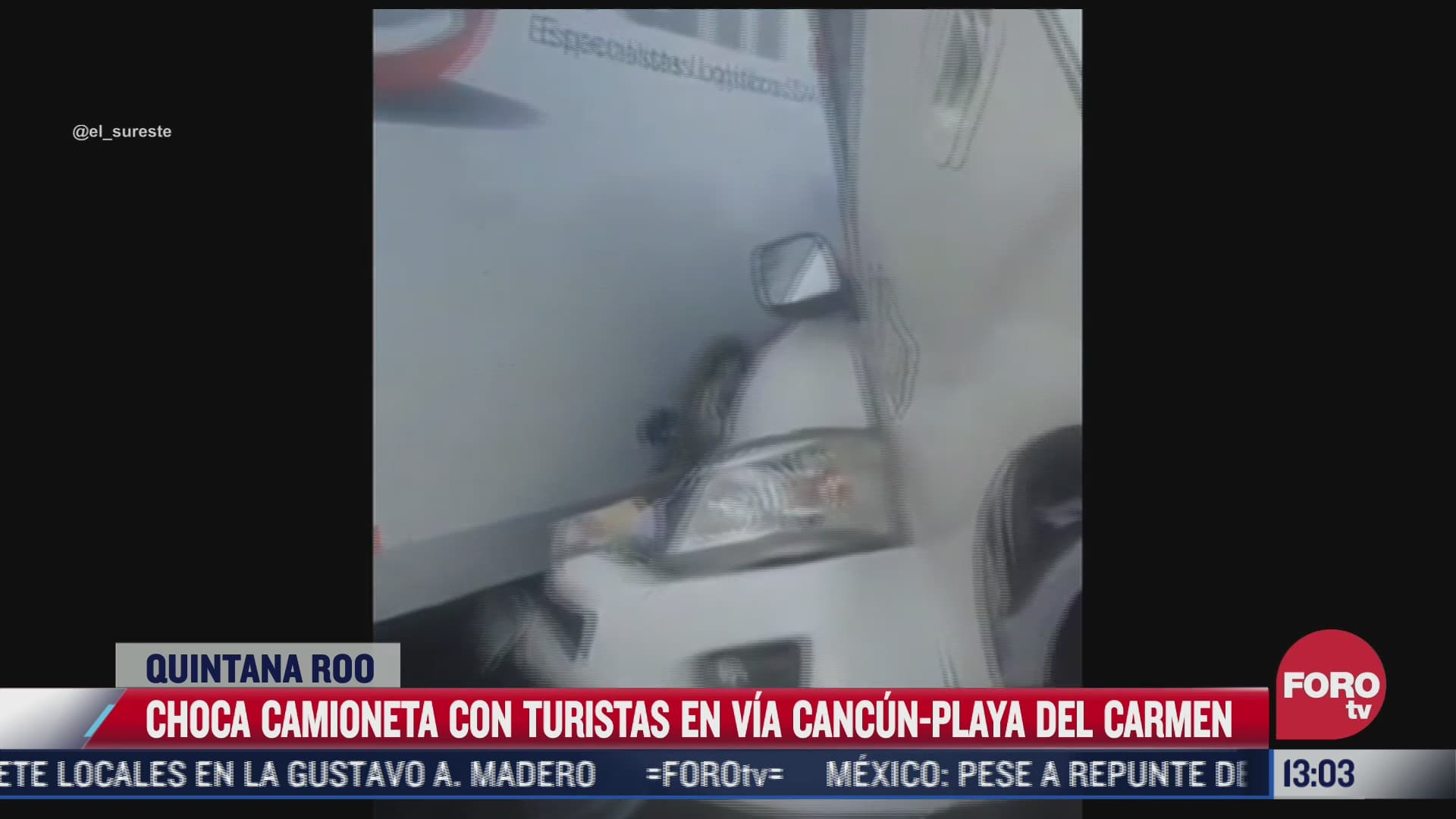 choca camioneta con turistas en via cancun playa del carmen