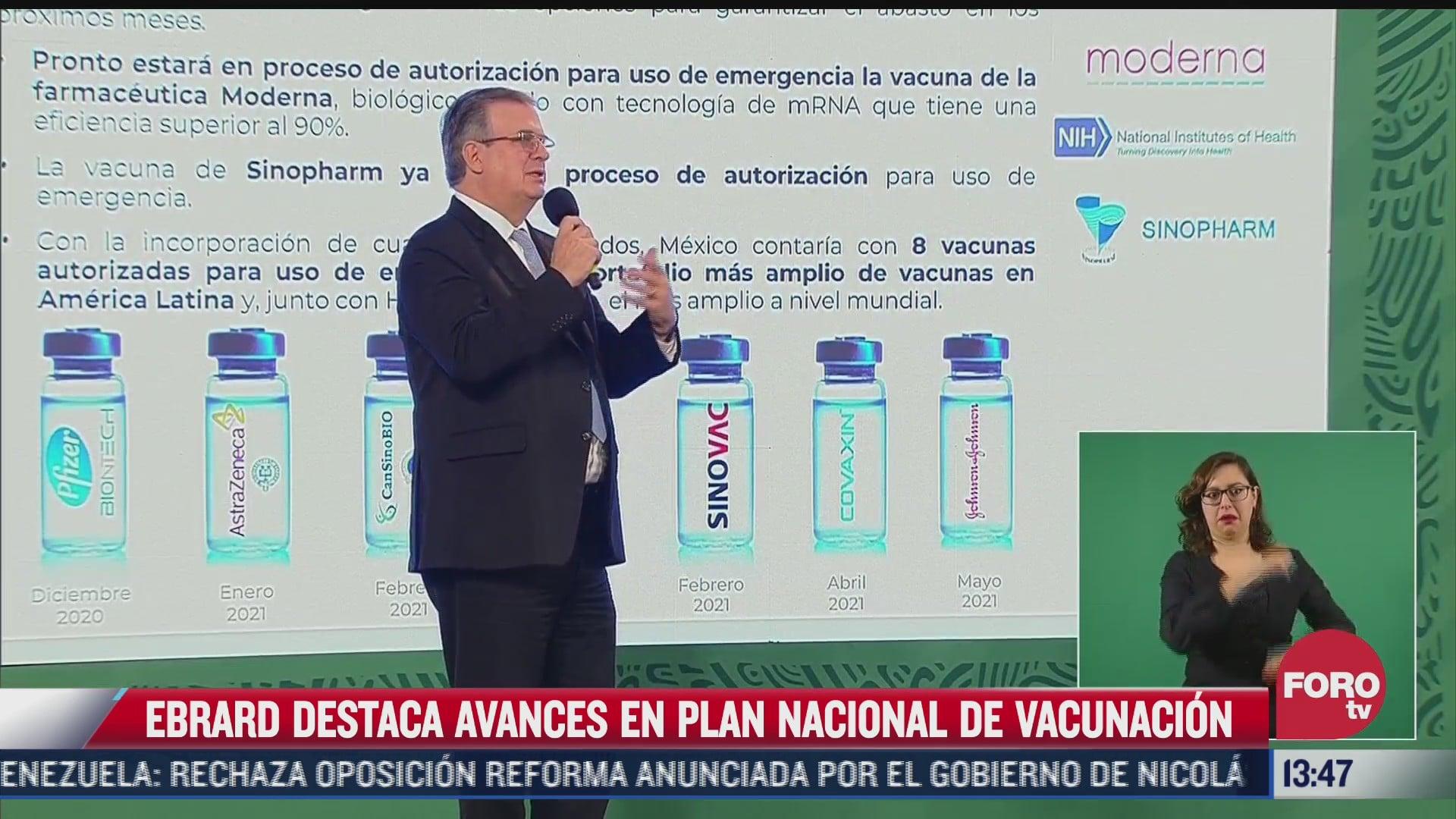 destaca ebrard avance en plan de vacunacion contra covid