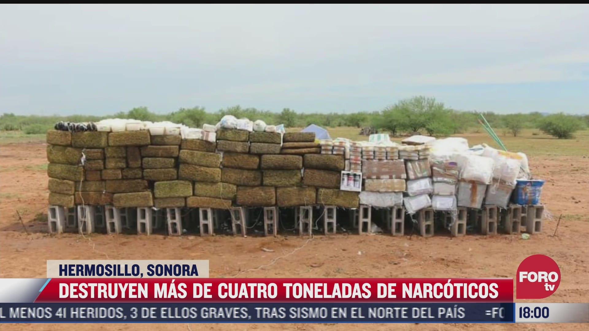 destruyen mas de 4 toneladas de narcoticos en sonora