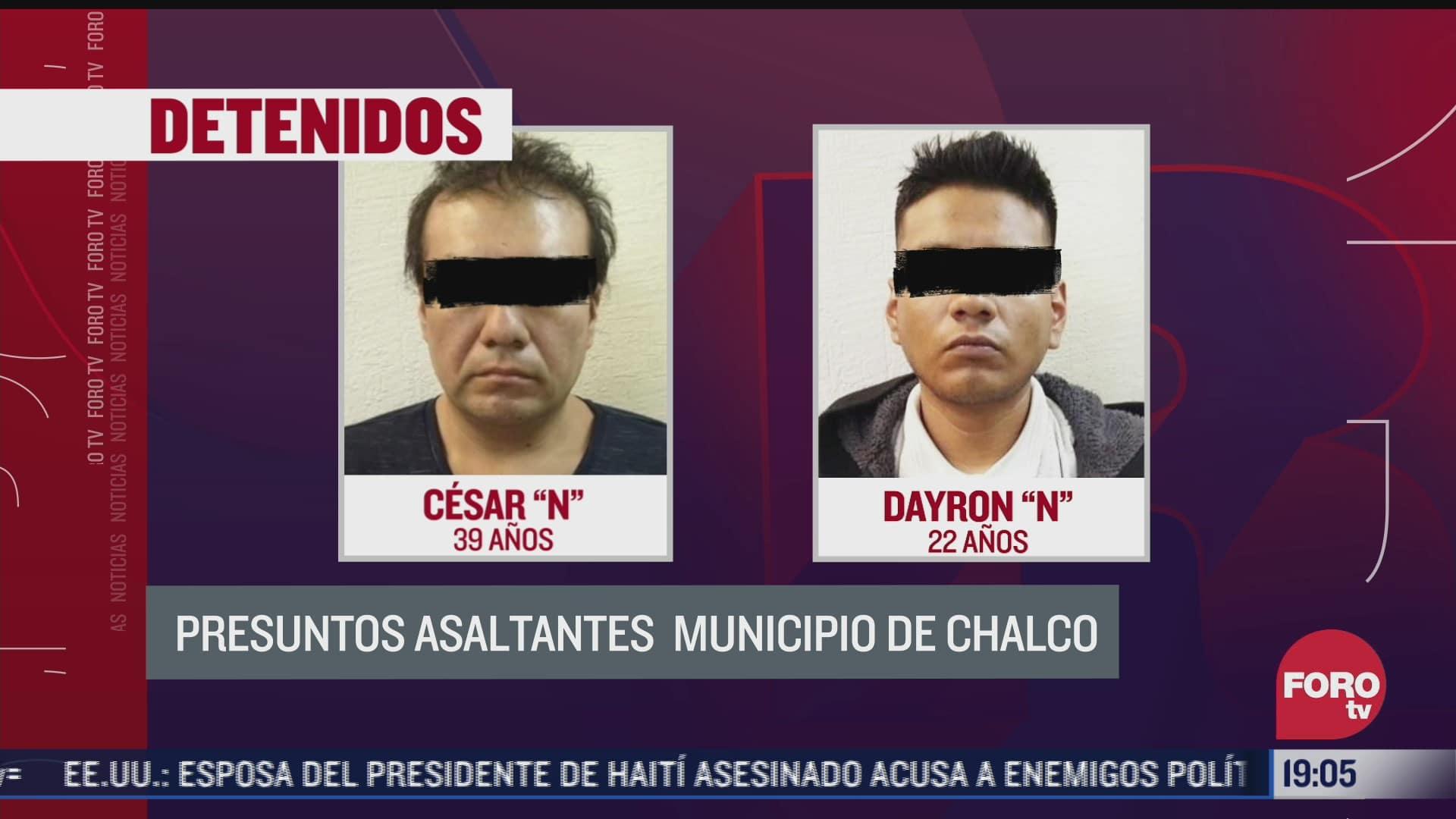 detienen a dos presuntos asaltantes en chalco edomex