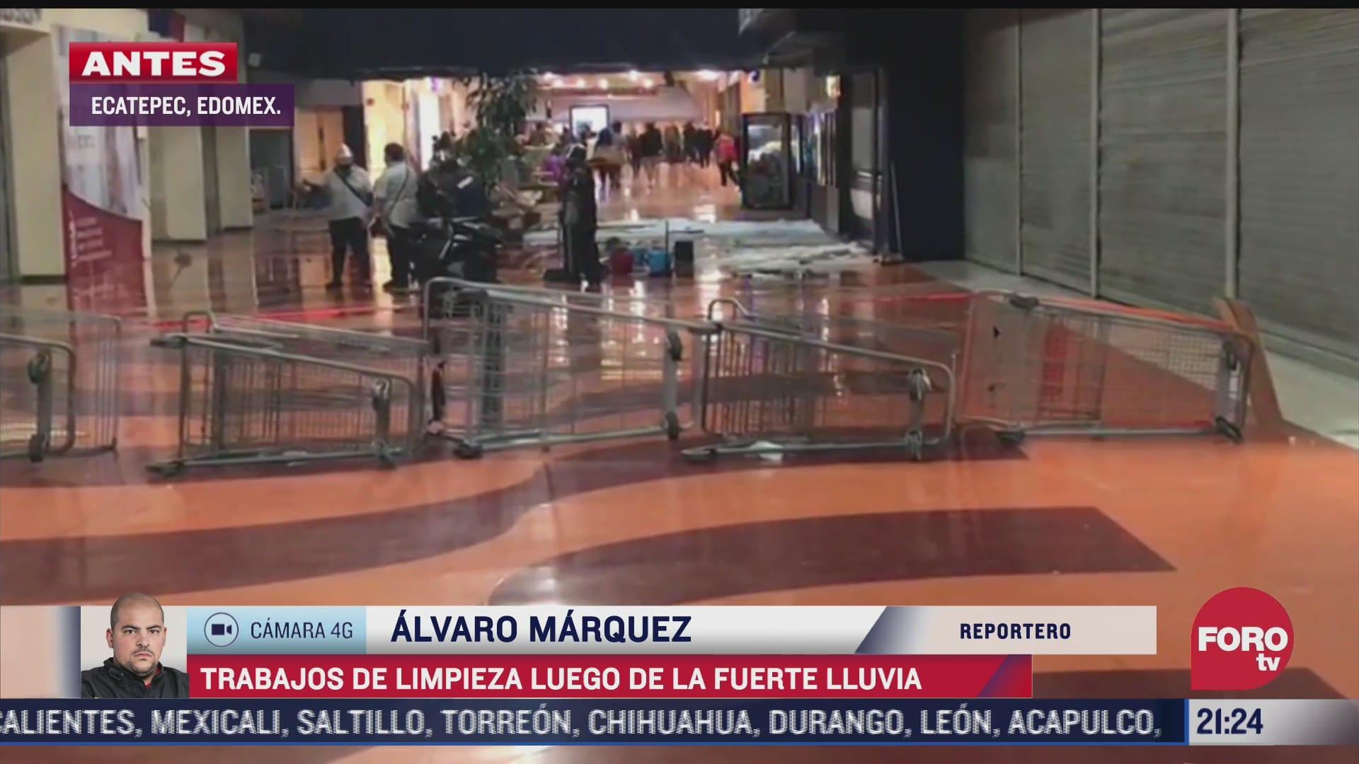 encharcamientos en plaza comercial por granizada en ecatepec