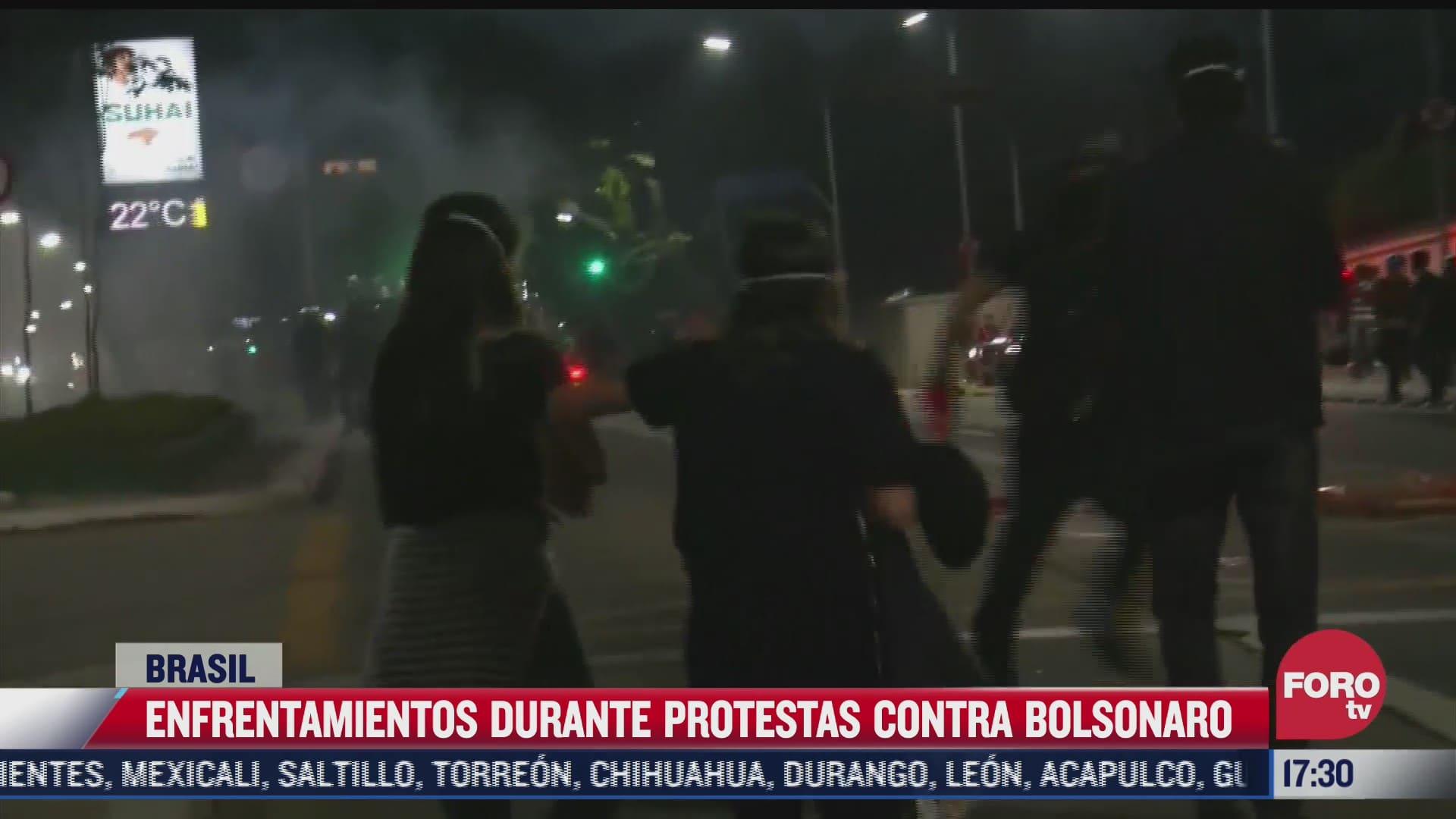 enfrentamientos durante protestas contra bolsonaro en brasil