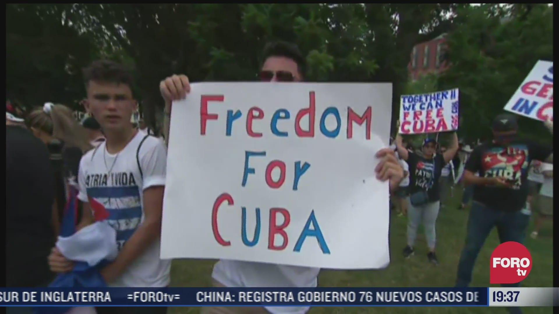 estadounidenses se manifiestan en apoyo a comunidad cubana en washington