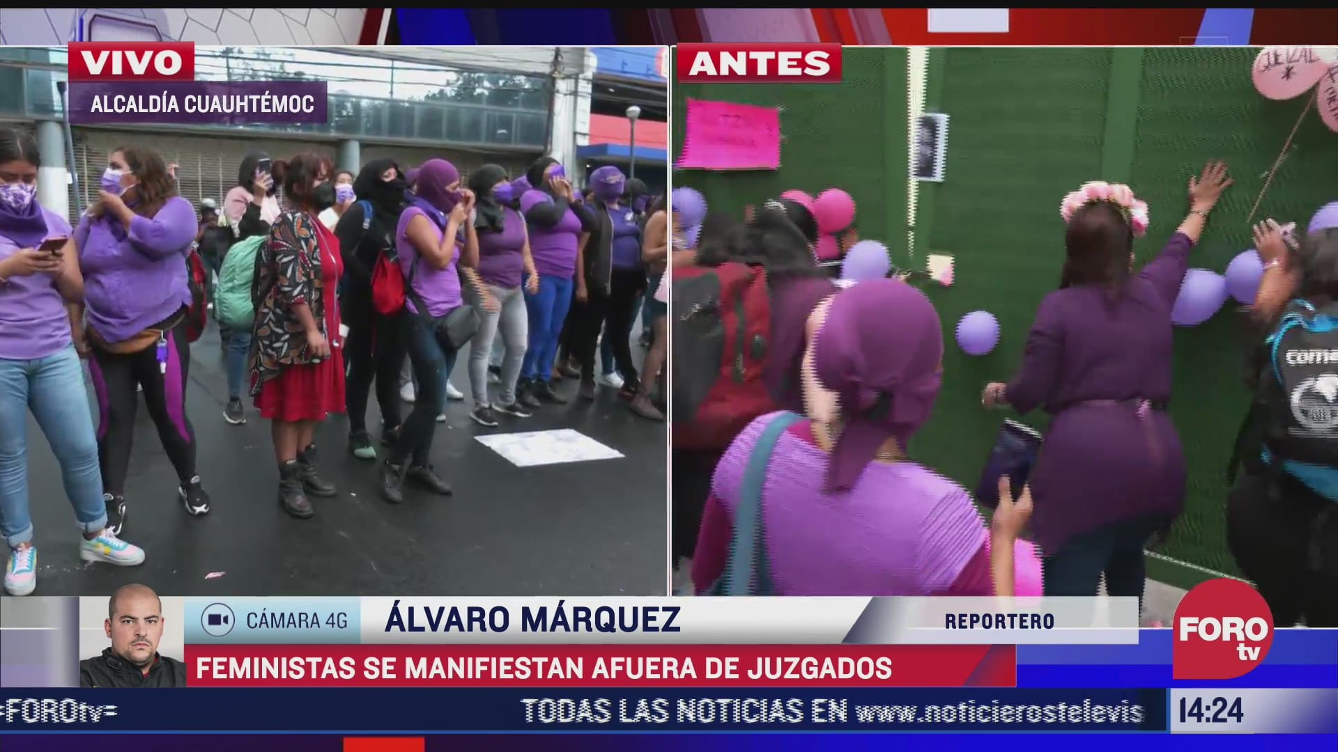 feministas se manifiestan a las afueras de la sala de juicios orales de la cdmx
