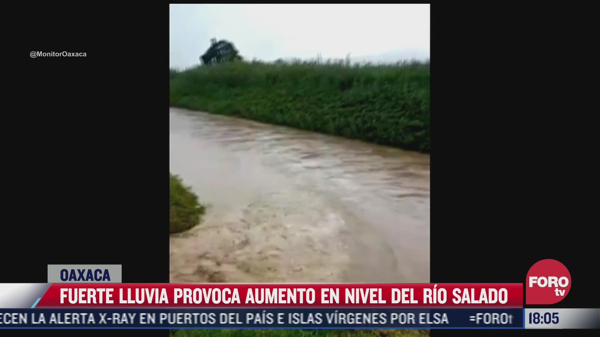 fuertes lluvias provocan un incremento en el nivel del rio salado