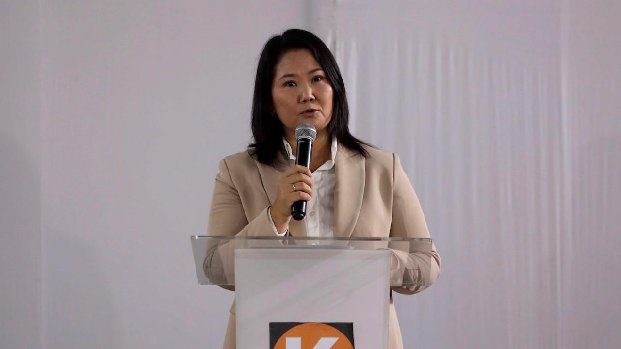 La candidata presidencial en Perú, Keiko Fujimori, durante una conferencia de prensa el 19 de julio de 2021 (EFE)