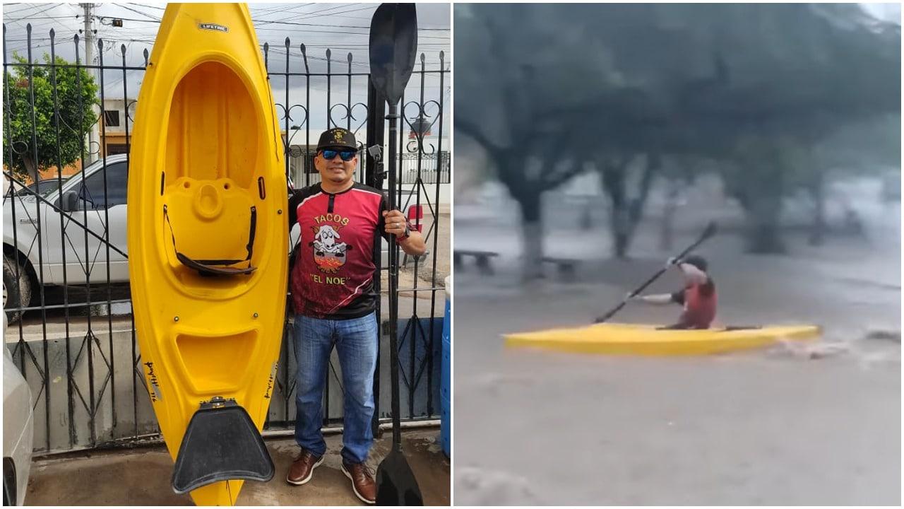 Hombre usa kayak durante inundación en Sonora, video
